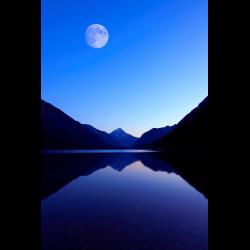 307170 Plansee mit Mond Ammergebirge